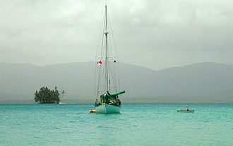 Cruising (maritime) - A cruising sailboat anchored in the San Blas Islands, in Panama.