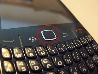 Touchpad - Trackpad of the BlackBerry Curve 8520 in the red circle.