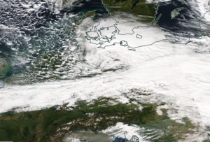 Cyclone Xavier (2017) - Aqua Modis satellite view of Xavier crossing Germany and Poland on 5 October 2017.