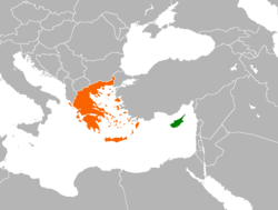 Map indicating locations of Cyprus and Greece