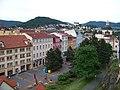 Děčín, Křížová ulice a Stoličná hora, z Růžové zahrady.jpg