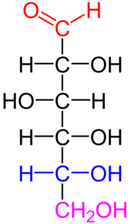 D-glucose is an aldohexose with the formula (C·H2O)6. The red atoms highlight the aldehyde group, and the blue atoms highlight the asymmetric center furthest from the aldehyde; because this -OH is on the right of the Fischer projection, this is a D sugar.
