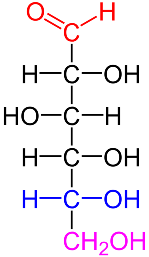 Carbohydrate - D-glucose is an aldohexose with the formula (C·H2O)6. The red atoms highlight the aldehyde group and the blue atoms highlight the asymmetric center furthest from the aldehyde; because this -OH is on the right of the Fischer projection, this is a D sugar.