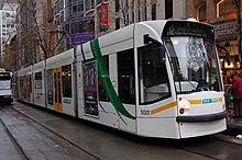 A D2 class tram in Collins Street with a West Preston-bound service.