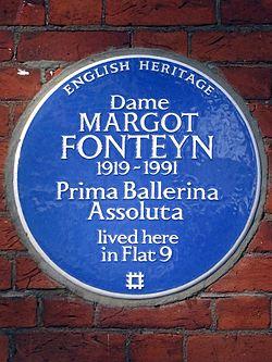 Dame margot fonteyn 1919 1991 prima ballerina assoluta lived here in flat 9