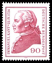 West German postage stamp, 1974, commemorating the 250th anniversary of Kant's birth.