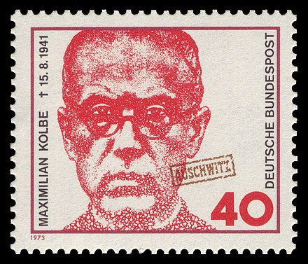 Maximilian Kolbe, on a West German postage stamp, marked Auschwitz DBP 1973 771 Maximilian Kolbe.jpg