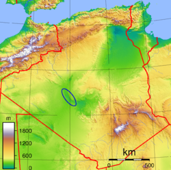Topographic map of Algeria with the location of the Touat region.