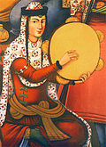 An Iranian woman playing a frame drum, from a painting on the walls of Chehel-sotoon palace, Isfahan, 17th century, Iran.