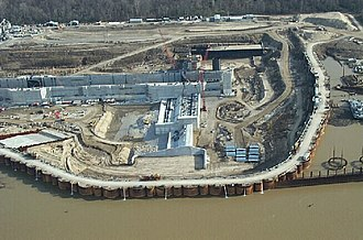A cofferdam during the construction of locks at the Montgomery Point Lock and Dam Dam Coffer.jpg