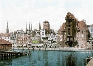 Günter Grass - Danzig Krahntor waterfront (postcard, c. 1900)