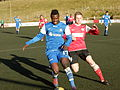 David Asare and Jónleif Højgaard Faroese football match 2012.JPG