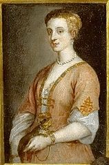 Portrait of a Lady with a collared pet attached by chain to her wrist