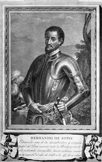 "Hernando de Soto - Library of Congress' engraving. The Spanish caption reads: ""HERNANDO DE SOTO: Extremaduran, one of the discoverers and conquerors of Peru: he travelled across all of Florida and defeated its previously invincible natives, he died on his expedition in the year 1542 at the age of 42""."