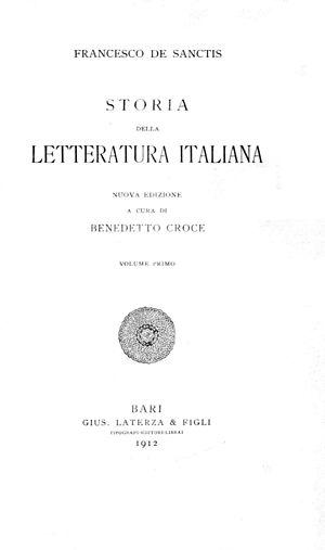 Storia della letteratura italiana (De Sanctis) - Storia della letteratura italiana, 1912