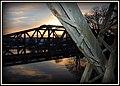 De gamle Jernbanebroer i solnedgangen - panoramio.jpg