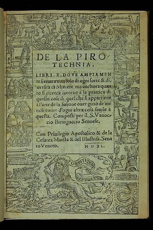 Cyril Stanley Smith - Title page of  De la pirotechnia (1540