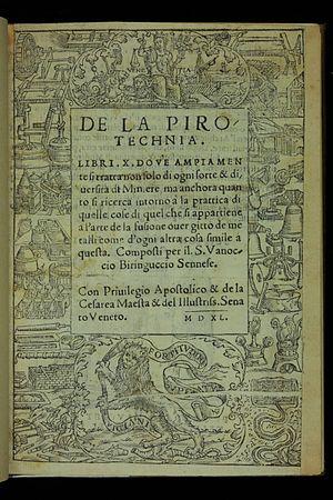 Vannoccio Biringuccio - Image: De la pirotechnia 1540 Title Page AQ1 (1)