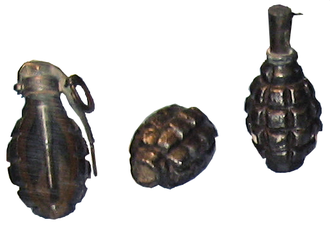 F1 grenade (France) - From left to right: F1 with M1916 Billant fuse, F1 body, F1 with percussion fuse.