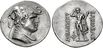 "Demetrius I of Bactria - BAKTRIA, Greco-Baktrian Kingdom. Demetrios I Aniketos. Circa 200-185 BC. AR Tetradrachm (33mm, 17.00 g, 12h). Diademed and draped bust right, wearing elephant-skin headdress (evoking Alexander the Great), symbol of his conquests in India, which greatly expanded the Hellenistic and Graeco-Roman realm/ Herakles standing facing, crowning himself, holding club and lion skin; monogram to inner left. Greek legend: ΒΑΣΙΛΕΩΣ ΔΗΜΗΤΡΙΟΥ (BASILEOS DEMETRIOU) ""Of King Demetrius"" Bopearachchi 1F; cf. SNG ANS 190."