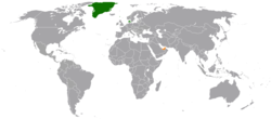 Map indicating locations of Denmark and United Arab Emirates