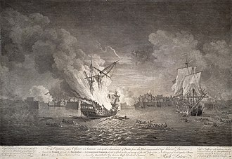 Conquest of 1760 - Depiction of the burning of the French ship Prudent, and the capture of Bienfaisant during the Siege of Louisbourg.