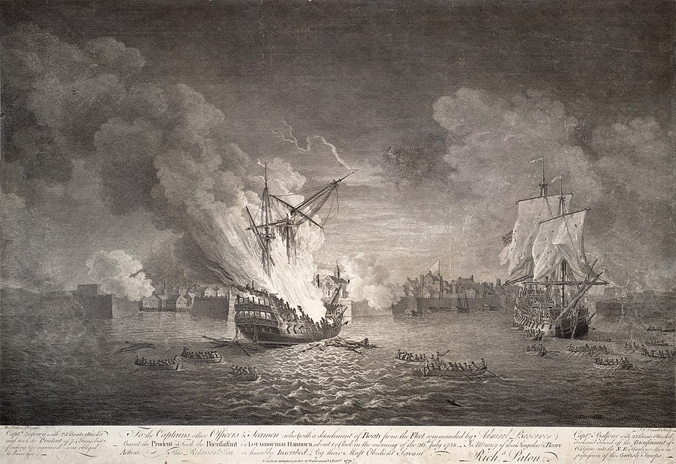 Destruction du vaisseau le Prudent et capture du Bienfaisant a Louisbourg 1758