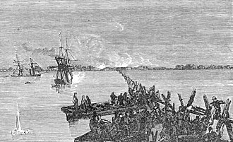 Pescadores Campaign - French sailors cut a gap in the Chinese barrage protecting the harbour of Makung, 30 March 1885