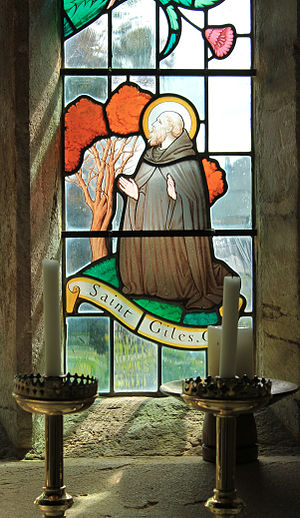 Francis Skeat - A detail of the East Window in the church of St Giles, Hooke, Dorset. By Francis Skeat (1963).