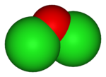 Space-filling model of dichlorine monoxide