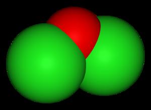 Dichlorine monoxide - Image: Dichlorine monoxide 3D vd W