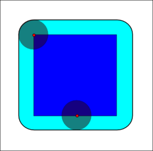 Mathematical morphology - The dilation of the dark-blue square by a disk, resulting in the light-blue square with rounded corners.