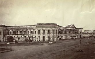 British rule in Burma - District Courts and Public Offices, Strand Road, Rangoon, 1868. Photographer J. Jackson.