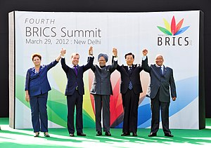 4th BRICS summit - The BRICS leaders at the summit venue; (from left) Rousseff, Medvedev, Singh, Hu and Zuma