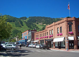 View south along Galena Street in downtown Aspen, 2010. The Aspen Mountain ski area is in the background.