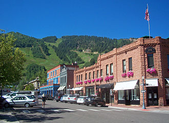 Aspen, Colorado - View south along Galena Street in downtown Aspen, 2010. The Aspen Mountain ski area is in the background.