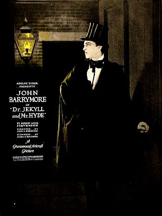 "Dr. Jekyll and Mr. Hyde (1920 Paramount film) - A 1920 lobby poster depicting the dashing and ""good"" Dr. Henry Jekyll"