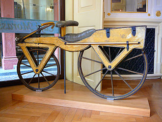 Wooden draisine (around 1820), the first two-wheeler and as such the archetype of the bicycle Draisine or Laufmaschine, around 1820. Archetype of the Bicycle. Pic 01.jpg