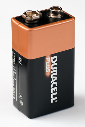 Nine-volt battery - A Duracell PP3-size 9-volt alkaline battery