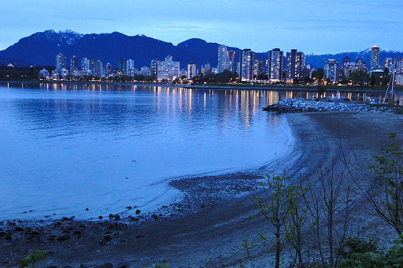 Dusk View of Downtown and West End from Kitsilano Beach - Vancouver BC - Canada.jpg