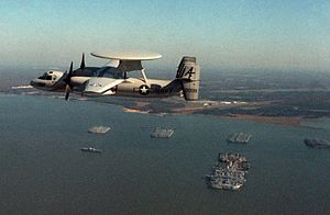 E-2C VAW-78 in flight over James River reserve fleet 1983.JPEG