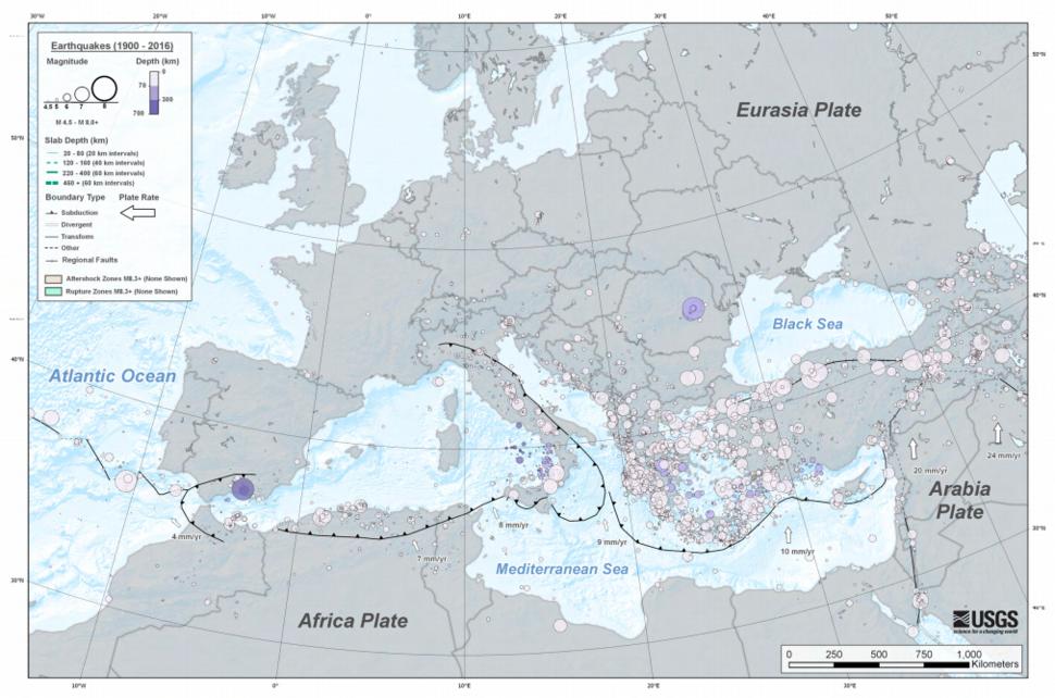 EQs 1900-2016 mediterranean tsum
