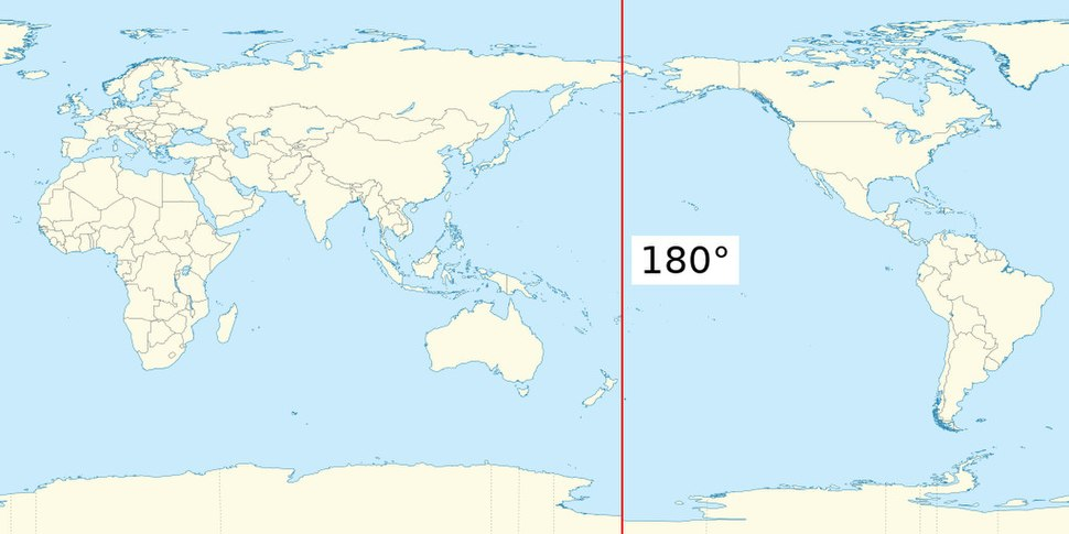 Earth map with 180th meridian