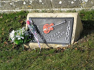 Eddie Cochran - Memorial plaque at Rowden Hill, Chippenham