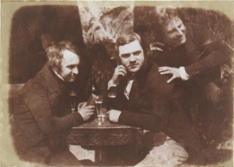 Salt print - Edinburgh Ale: James Ballantine, Dr George Bell and David Octavius Hill by Hill & Adamson, a salt print from a calotype paper negative, ca. 1844