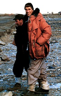 Edmund Hillary in 1957 after accompanying the first plane to land at the Marble Point ground air strip, Antarctica