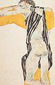 Egon Schiele - Liegender Mädchenakt im gestreiften Kittel - 1911.jpeg