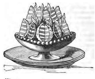"Gelatin dessert - Wood-engraving of ""Orange Jellies"" garnished with myrtle leaves, in Eliza Acton's Modern Cookery for Private Families, 1845"
