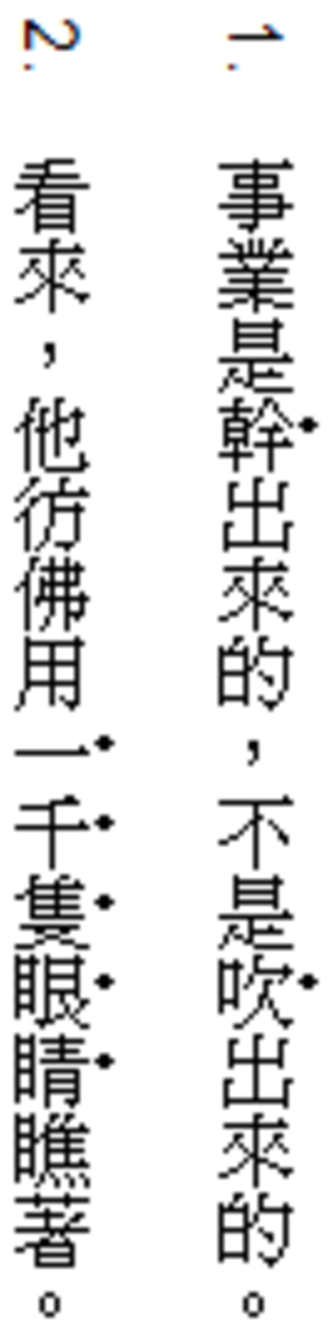 Emphasis (typography) - Example of emphasis marks in Traditional Chinese, written vertically