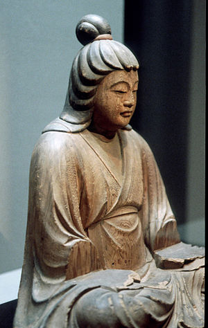 Empress Jingū - This sculptured image presents an idealized likeness of Empress Jingū (Okinaga-Tarashihime no Mikoto, 1326). Collection of Aka-ana Hachimangū Shrine, Shimane Prefecture